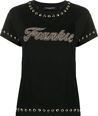 Frankie Morello Camiseta decote careca com tachas - Preto
