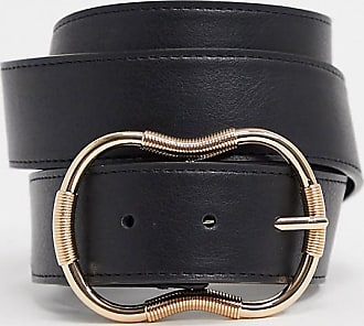 Asos Curve ASOS DESIGN Curve - Cintura per jeans con dettaglio smussato nera-Nero