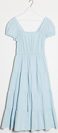 & Other Stories eco cotton square neck smock midaxi dress in blue-Green