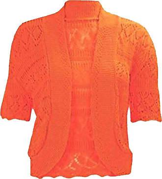 21Fashion Ladies Fancy Crochet Knitted Bolero Shrug Cardigan Womens Short Sleeve Crop Top Orange 2X Large