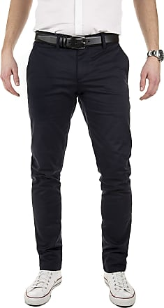 Yazubi Mens Chinos Pants Dustin Trousers with Belt Slim Fit - Belted Pure Chino Trousers Button Royal Navy Cobalt Midnight