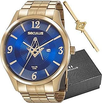 Seculus Relógio Seculus Masculino Ref: 20762gpskda1 Dourado Maçonaria