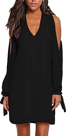 Yoins Women Cold Shoulder Dresses Casual Long Sleeves V Neck Dress Loose Dress Plain Tunics Tops