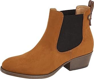 Lora Dora Womens Chunky Block Heel Chelsea Boots Lilly-Rose Brandy UK 8