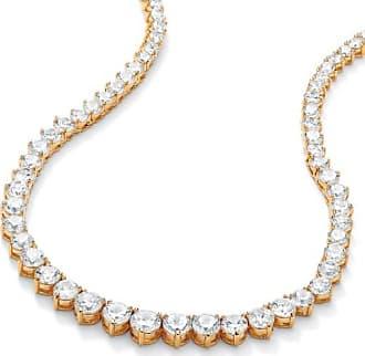PalmBeach Jewelry 26.23 TCW Round Cubic Zirconia 14k Gold-Plated Eternity Necklace 16