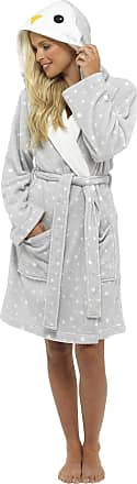 Foxbury Ladies Novelty Cuddle Fleece Animal Hood Gown, XL, Penguin