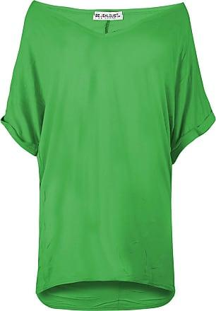Be Jealous Womens Plain Turn Up Sleeve V Neck Baggy T-Shirt Jade Green M/L (UK 12/14)