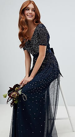 Maya v neck maxi tulle dress with contrast tonal delicate sequins in navy - Navy