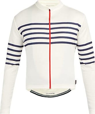 Cafe du Cycliste Claudette Zipped Striped-jersey Cycling Top - Mens - White Multi