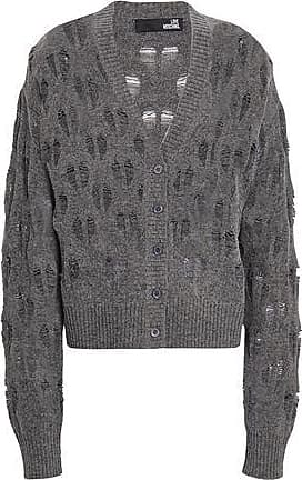 3f642ba42 Love Moschino Love Moschino Woman Open-knit Wool-blend Cardigan Anthracite  Size 42