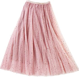 Mxssi Elegant Swing Dress Retro Evening Party Casual Tutu Tulle Skirt Women Retro Star Sequin Sparkling Princess Pleated Long Skirts Underskirt with Elastic