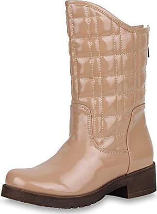dd18234fc7da1c Scarpe Vita Gefütterte Damen Stiefeletten Lack Stiefel Gesteppte Boots  57396 Apricot 38