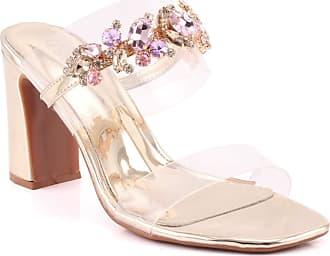 f2fab491967 Unze Unze Women Fania Transparent Double Strap Embellished Upper Chunky  Casual Outdoor Formal Slide Block Heel