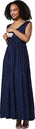 Happy Mama Womens Maternity Nursing Maxi Dress Sleeveless Side Pockets. 012p (Navy with Gold Stars, UK 12, L)