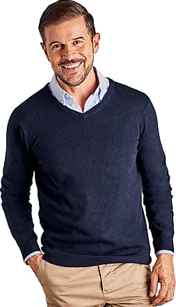 WoolOvers Mens Cashmere and Merino V Neck Jumper Navy, XXL