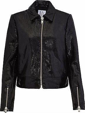 Zoe Karssen Zoe Karssen Woman Coated Snake-effect Leather Jacket Black Size S