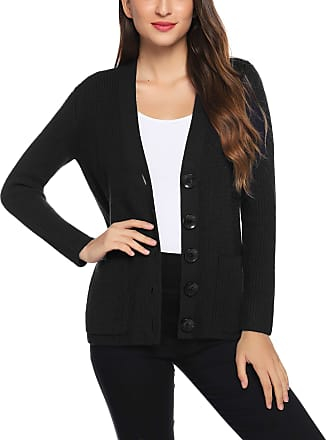 Aibrou Women Knitting Cardigan, Solid V Neck Long Sleeve Soft Stretchy Sweater Button Down Closure Front Open Cardigan with 2 Side Pockets Black