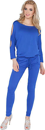 FUTURO FASHION Womens Jumpsuit with Pockets Boat Neck Open 3/4 Sleeve Playsuit Sizes 8-14 1081 Royal Blue