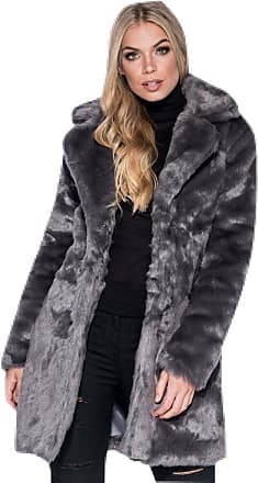 Momo & Ayat Fashions Celebrity Inspired Teddy Bear Fur Longline Coat UK Size 6-14 (UK 10 (EUR 38), Dark Grey)