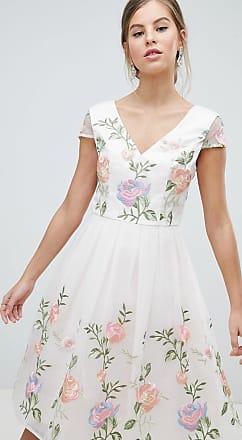 Chi Chi London Premium Lace Prom Dress in Multi Embroidery