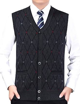 Yonglan Mens Diamond Pattern Knitted Vest Cardigans V-Neck Sleeveless Button Waistcoat Knitwear Tank Tops with Pockets Navy XXL