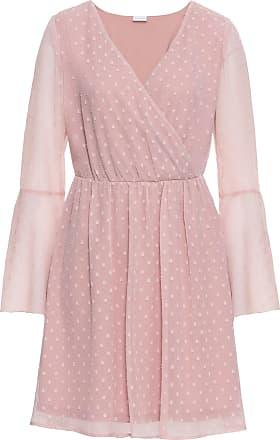 8d9370a3704d Bodyflirt Dam Klänning med omlottlook i rosa lång ärm - BODYFLIRT