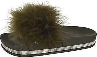 Saute Styles Ladies Women Diamante Celeb Farrah Fur Fluffy Slip On Sliders Mule Sandals Shoes Size 5