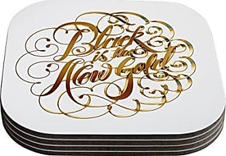 KESS InHouse RoberlanBlack is the New Gold Metallic Typography Coasters, 4 by 4-Inch, Set of 4