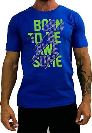 MXD Conceito Camiseta Tradicional Masculina MXD Conceito Born To Be Awesome Nascido Para Ser Incrível (Azul, EG)