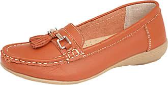 Jo & Joe Ladies Leather Loafer Shoes Plimsole Pumps Womens Flat Shoes Orange Size UK 7 EU 40