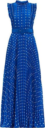Self Portrait Self-portrait - Polka-dot Plissé-pleat Chiffon Gown - Womens - Blue