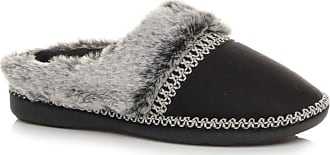 Ajvani Womens Ladies Flat Low Heel Winter Fur Lined Mules Slippers Size 4 37