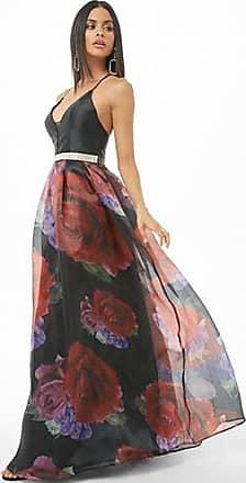 Forever 21 Forever 21 Rhinestone Rose Floral Satin Gown Black