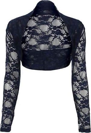 Top Fashion18 Womens Long Sleeve Lace Floral Ladies Cropped Short Shrug Bolero Cardigan Top 8-22 Navy