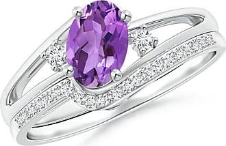 Angara Valentine Day Sale - Oval Amethyst and Diamond Wedding Band Ring Set