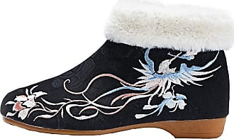 ICEGREY Womens Chinese Embroidered Shoes Winter Boots Slip on Loafer Black-2 8.5