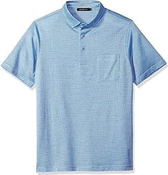 Bugatchi Mens Double Mercerized Short Sleeve Three Button Polo, Sky, M
