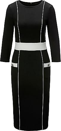 Madeleine Etui-Kleid mit 3/4-Ärmeln Damen schwarz/wollweiss / schwarz
