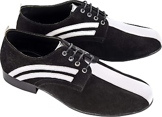Ikon Badger Mens Suede Derby Shoes Black/White UK 10
