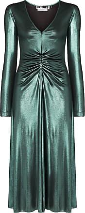 Rotate Vestido midi No 7 com gola V - Verde