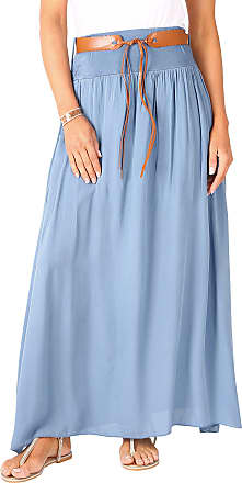 Krisp 4809-DNM-LXL: Tie Belted Boho Maxi Cotton Skirt (Denim Blue (4809))