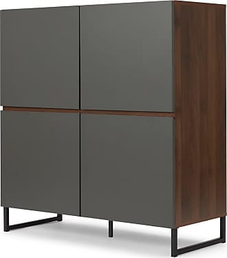 MADE.COM Hopkins Highboard, Walnuss-Finish-Finish und Grau