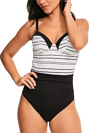 Figleaves Womens Stripe Underwired Swimsuit Size 34FF in White Stripe