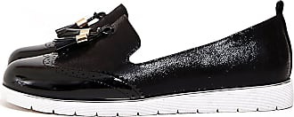 Shelikes Womens Low Wedge Heel Slip On Tassled Brogue Loafers_K-DL67_Black_3