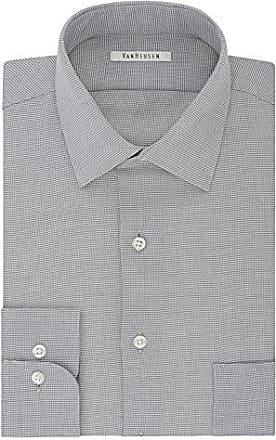 Van Heusen Mens Regular Fit Micro Houndstooth Spread Collar Dress Shirt, Gray Pearl, 17.5 Neck 34-35 Sleeve
