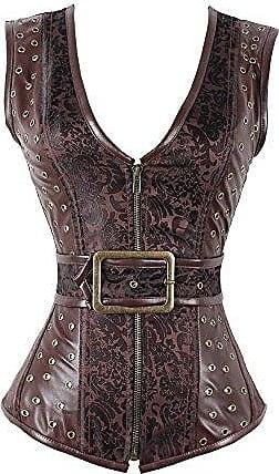 Korsett Frauen Steampunk Gothic Overbust Vintage Kunstleder Fashion Bustiers Business Body Shaper Corsage Waist Training Bauchweg Figurformend Korsagen Color Black