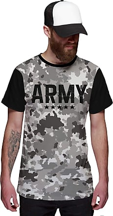 Di Nuevo Camiseta Army Camuflada Cinza Exército Top