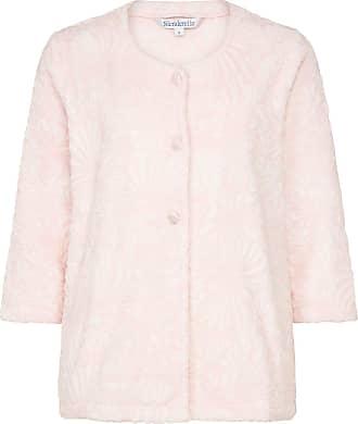 Slenderella Ladies Floral Jacquard Bed Jacket Button Up Super Soft Fleece Housecoat Medium (Pink)