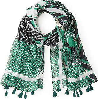 Samoon Geweven sjaal met grafisch dessin en kwasten Van Samoon groen