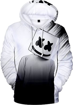 OLIPHEE Mens Fashion 3D Prints Hoodies DJ Inspired Graphic Pullover Jumpers Casual with Pockets Gray White 3XL